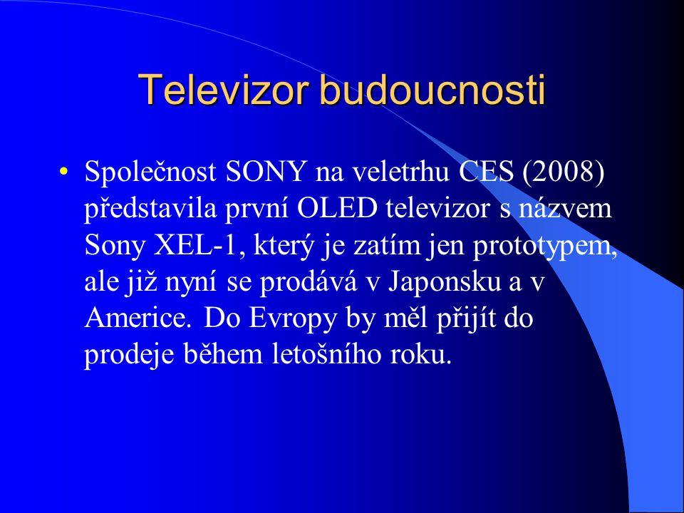 Televizor budoucnosti Společnost SONY na veletrhu CES (2008) představila první OLED televizor s názvem Sony XEL-1, který je zatím jen prototypem, ale