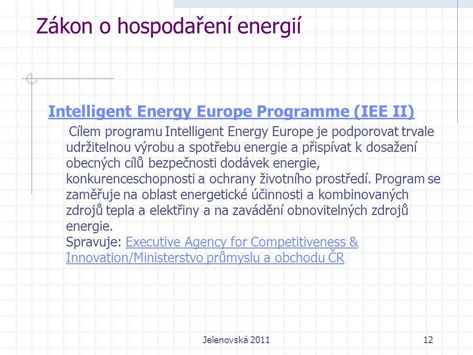 Zákon o hospodaření energií Intelligent Energy Europe Programme (IEE II) Cílem programu Intelligent Energy Europe je podporovat trvale udržitelnou výrobu a spotřebu energie a přispívat k dosažení obecných cílů bezpečnosti dodávek energie, konkurenceschopnosti a ochrany životního prostředí.
