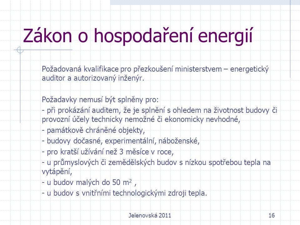 Zákon o hospodaření energií Požadovaná kvalifikace pro přezkoušení ministerstvem – energetický auditor a autorizovaný inženýr.