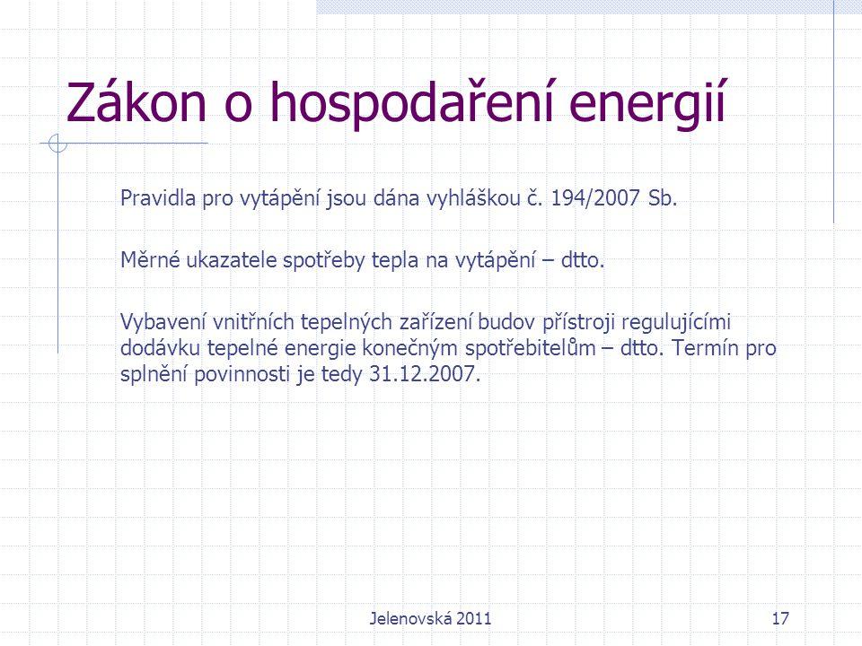 Zákon o hospodaření energií Pravidla pro vytápění jsou dána vyhláškou č.