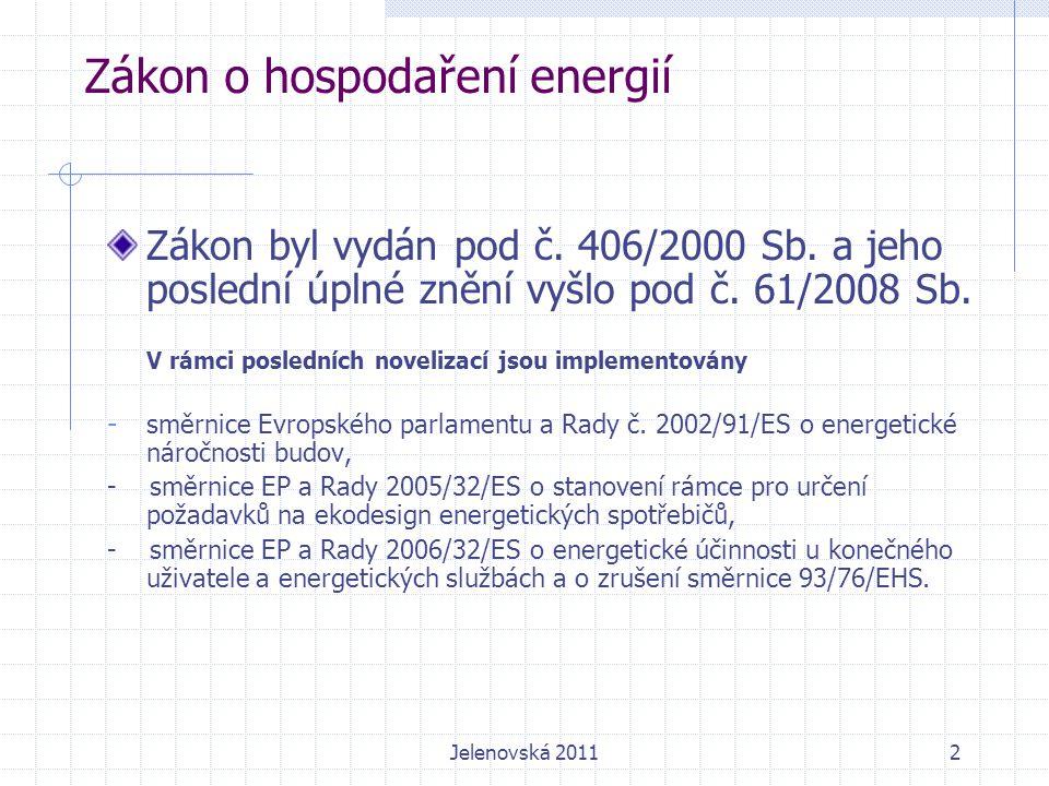 Zákon o hospodaření energií Směrnice 2002/91/ES se od 1.2.2012 zrušuje a nahrazuje se směrnicí 2010/31/EU ze dne 19.5.2010.
