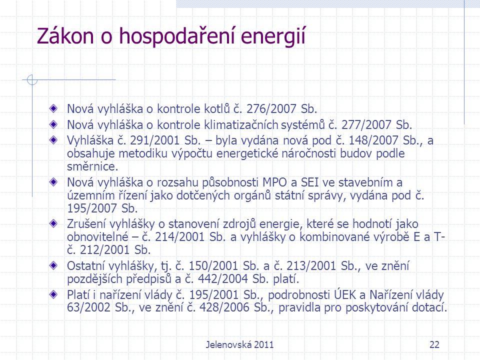 22 Zákon o hospodaření energií Nová vyhláška o kontrole kotlů č.