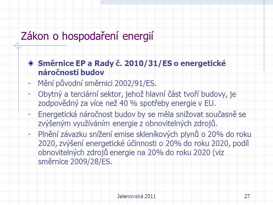 Zákon o hospodaření energií Směrnice EP a Rady č.