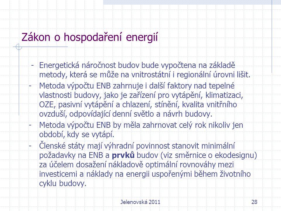 Zákon o hospodaření energií -Energetická náročnost budov bude vypočtena na základě metody, která se může na vnitrostátní i regionální úrovni lišit.