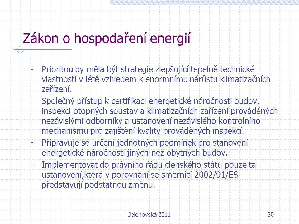 Zákon o hospodaření energií -Prioritou by měla být strategie zlepšující tepelně technické vlastnosti v létě vzhledem k enormnímu nárůstu klimatizačních zařízení.