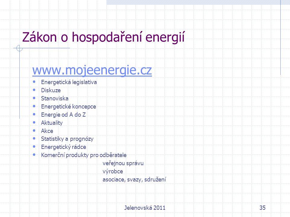 Zákon o hospodaření energií www.mojeenergie.cz Energetická legislativa Diskuze Stanoviska Energetické koncepce Energie od A do Z Aktuality Akce Statistiky a prognózy Energetický rádce Komerční produkty pro odběratele veřejnou správu výrobce asociace, svazy, sdružení Jelenovská 201135