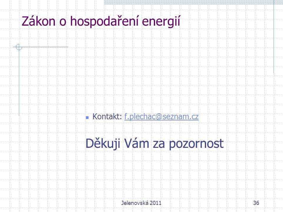 36 Zákon o hospodaření energií Kontakt: f.plechac@seznam.czf.plechac@seznam.cz Děkuji Vám za pozornost Jelenovská 2011