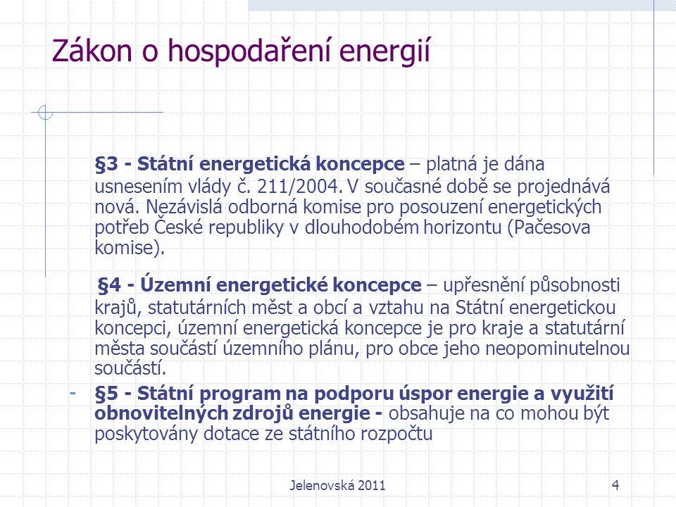 Zákon o hospodaření energií Součástí průkazu nové budovy nad 1000 m 2 musí být výsledky posouzení technické, ekologické a ekonomické proveditelnosti: - decentralizované systémy dodávky energie z OZE, - kombinovaná výroba elektřiny a tepla, - dálkové nebo blokové ústřední vytápění, - tepelná čerpadla.