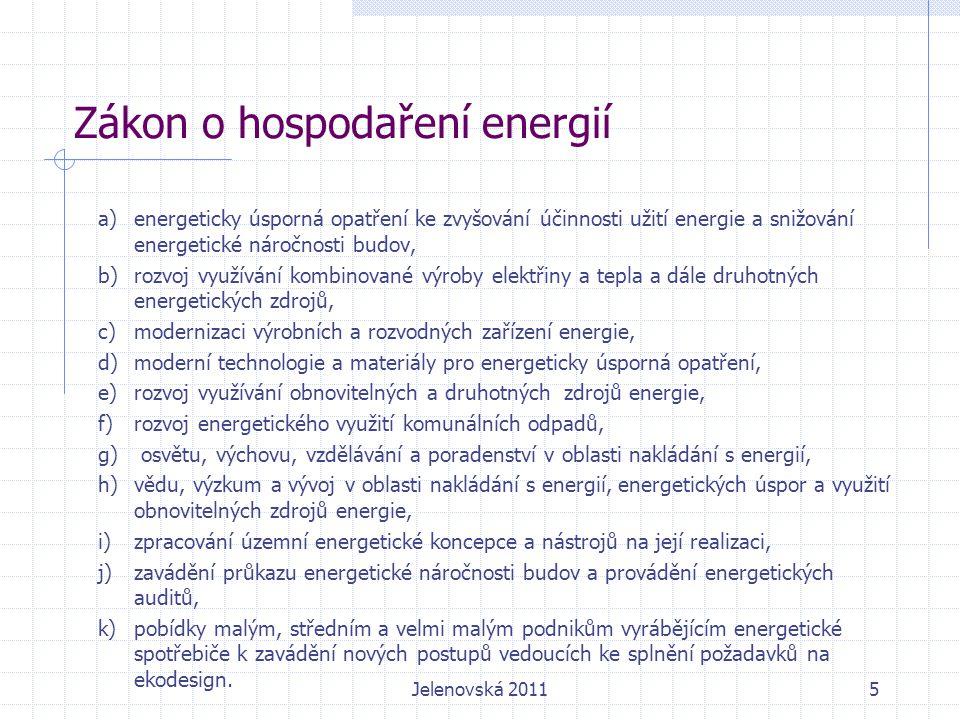 Zákon o hospodaření energií a)energeticky úsporná opatření ke zvyšování účinnosti užití energie a snižování energetické náročnosti budov, b)rozvoj využívání kombinované výroby elektřiny a tepla a dále druhotných energetických zdrojů, c)modernizaci výrobních a rozvodných zařízení energie, d)moderní technologie a materiály pro energeticky úsporná opatření, e)rozvoj využívání obnovitelných a druhotných zdrojů energie, f)rozvoj energetického využití komunálních odpadů, g) osvětu, výchovu, vzdělávání a poradenství v oblasti nakládání s energií, h)vědu, výzkum a vývoj v oblasti nakládání s energií, energetických úspor a využití obnovitelných zdrojů energie, i)zpracování územní energetické koncepce a nástrojů na její realizaci, j)zavádění průkazu energetické náročnosti budov a provádění energetických auditů, k)pobídky malým, středním a velmi malým podnikům vyrábějícím energetické spotřebiče k zavádění nových postupů vedoucích ke splnění požadavků na ekodesign.