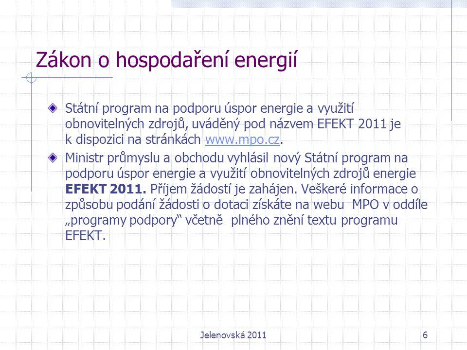 Zákon o hospodaření energií Státní program na podporu úspor energie a využití obnovitelných zdrojů, uváděný pod názvem EFEKT 2011 je k dispozici na stránkách www.mpo.cz.www.mpo.cz Ministr průmyslu a obchodu vyhlásil nový Státní program na podporu úspor energie a využití obnovitelných zdrojů energie EFEKT 2011.