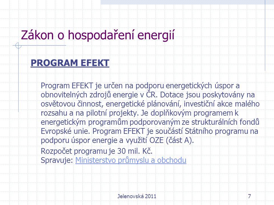 Zákon o hospodaření energií PROGRAM EFEKT Program EFEKT je určen na podporu energetických úspor a obnovitelných zdrojů energie v ČR.