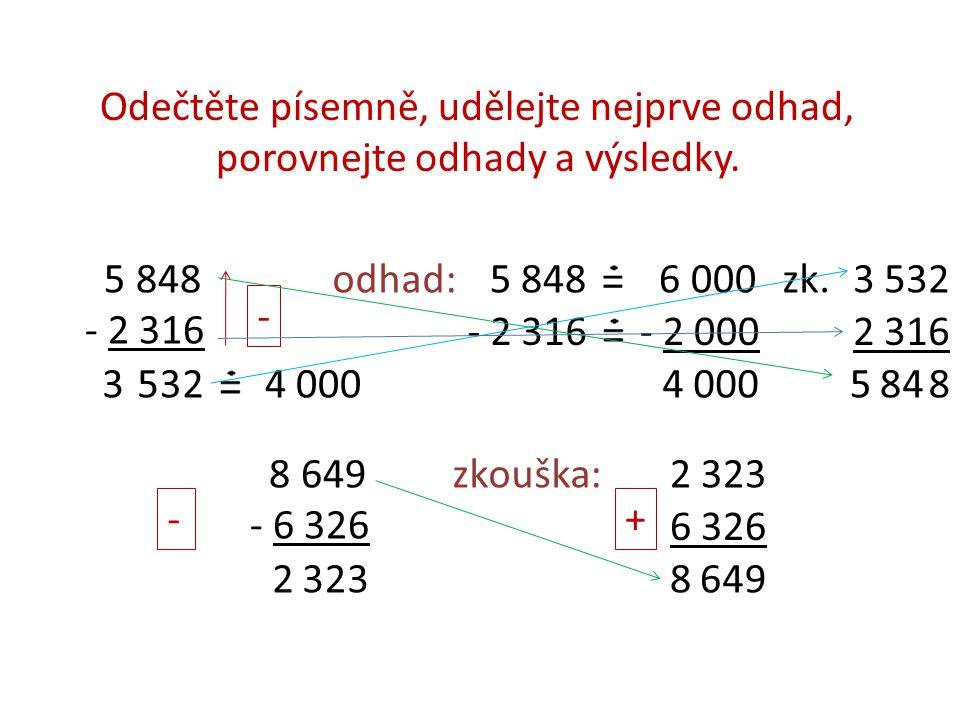 Odečtěte písemně, udělejte nejprve odhad, porovnejte odhady a výsledky.