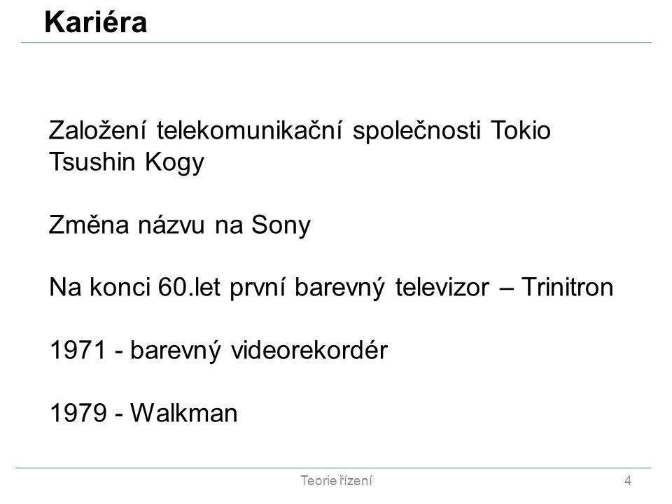 Teorie řízení4 Založení telekomunikační společnosti Tokio Tsushin Kogy Změna názvu na Sony Na konci 60.let první barevný televizor – Trinitron 1971 -