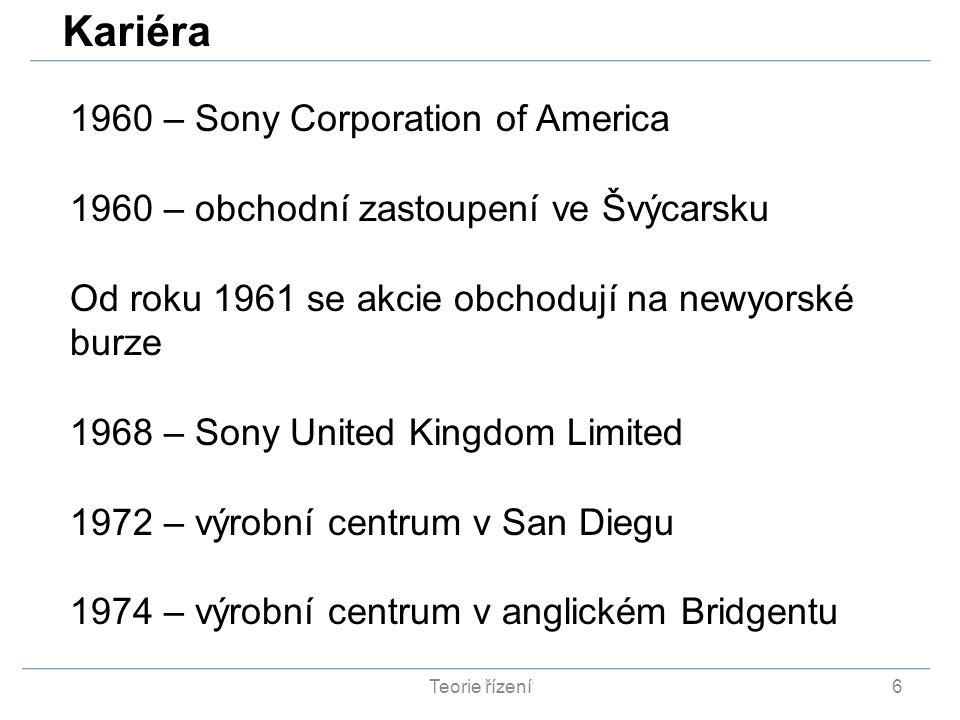 Teorie řízení6 1960 – Sony Corporation of America 1960 – obchodní zastoupení ve Švýcarsku Od roku 1961 se akcie obchodují na newyorské burze 1968 – So