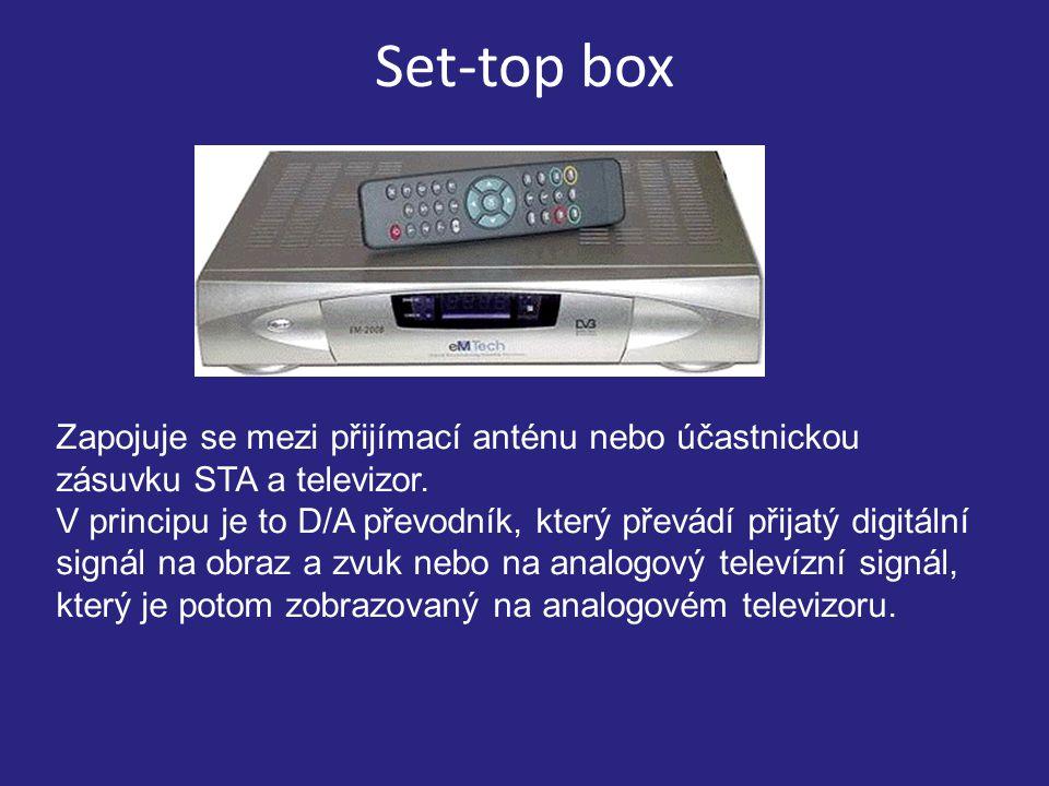 Set-top box Zapojuje se mezi přijímací anténu nebo účastnickou zásuvku STA a televizor.