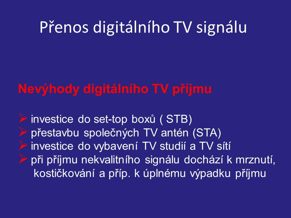 Přenos digitálního TV signálu Nevýhody digitálního TV příjmu  investice do set-top boxů ( STB)  přestavbu společných TV antén (STA)  investice do vybavení TV studií a TV sítí  při příjmu nekvalitního signálu dochází k mrznutí, kostičkování a příp.