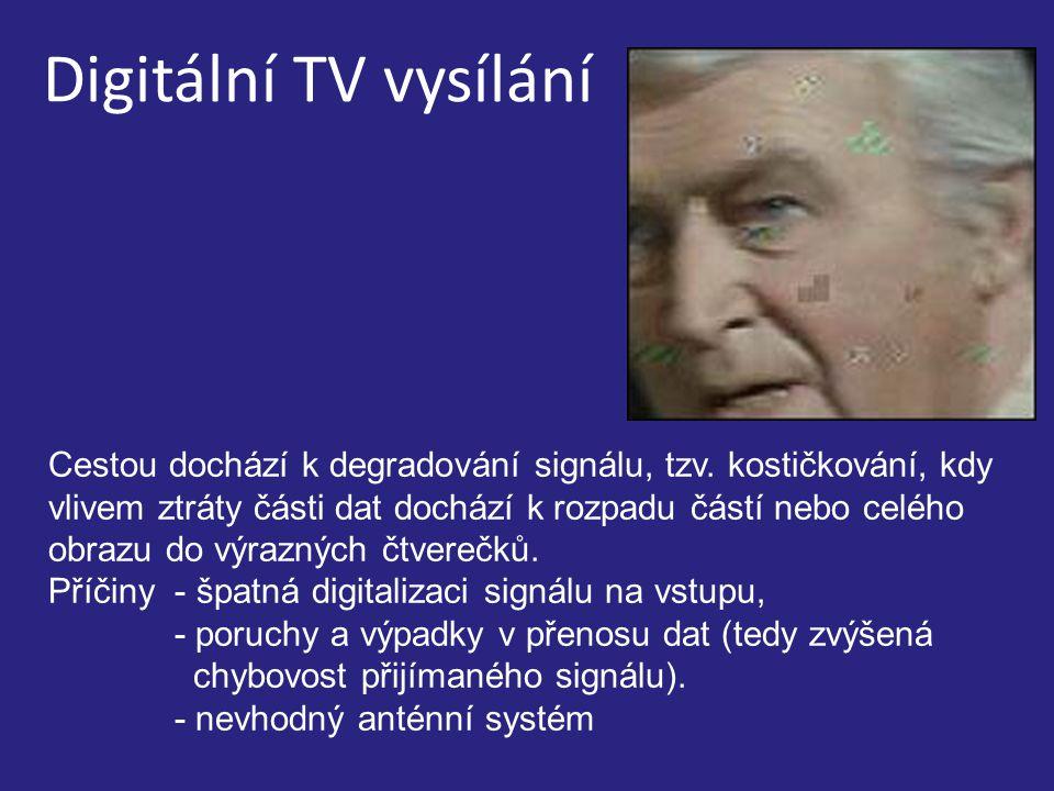 Digitální TV vysílání Cestou dochází k degradování signálu, tzv.