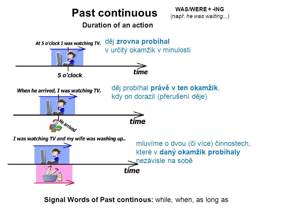 Past continuous děj zrovna probíhal v určitý okamžik v minulosti děj probíhal právě v ten okamžik, kdy on dorazil (přerušení děje) mluvíme o dvou (či