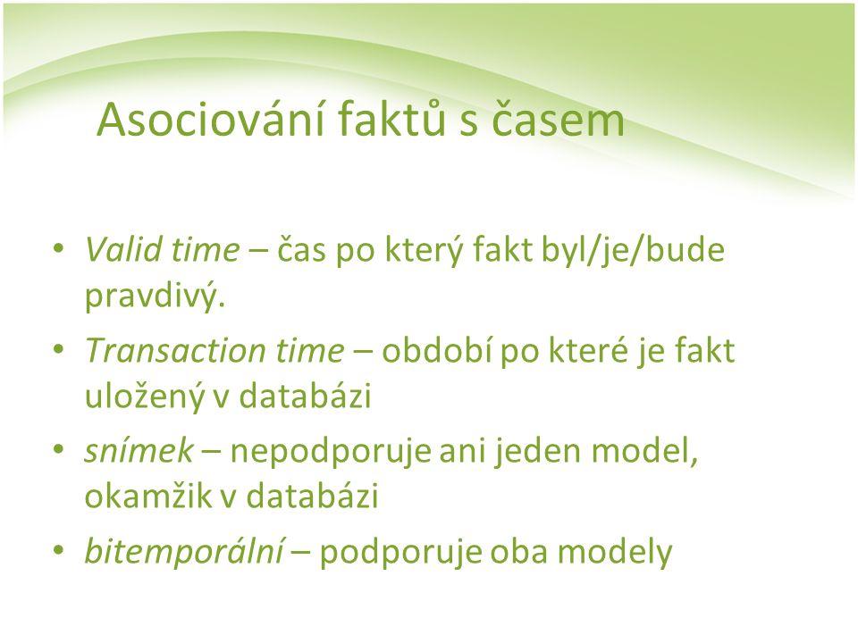 Asociování faktů s časem Valid time – čas po který fakt byl/je/bude pravdivý. Transaction time – období po které je fakt uložený v databázi snímek – n