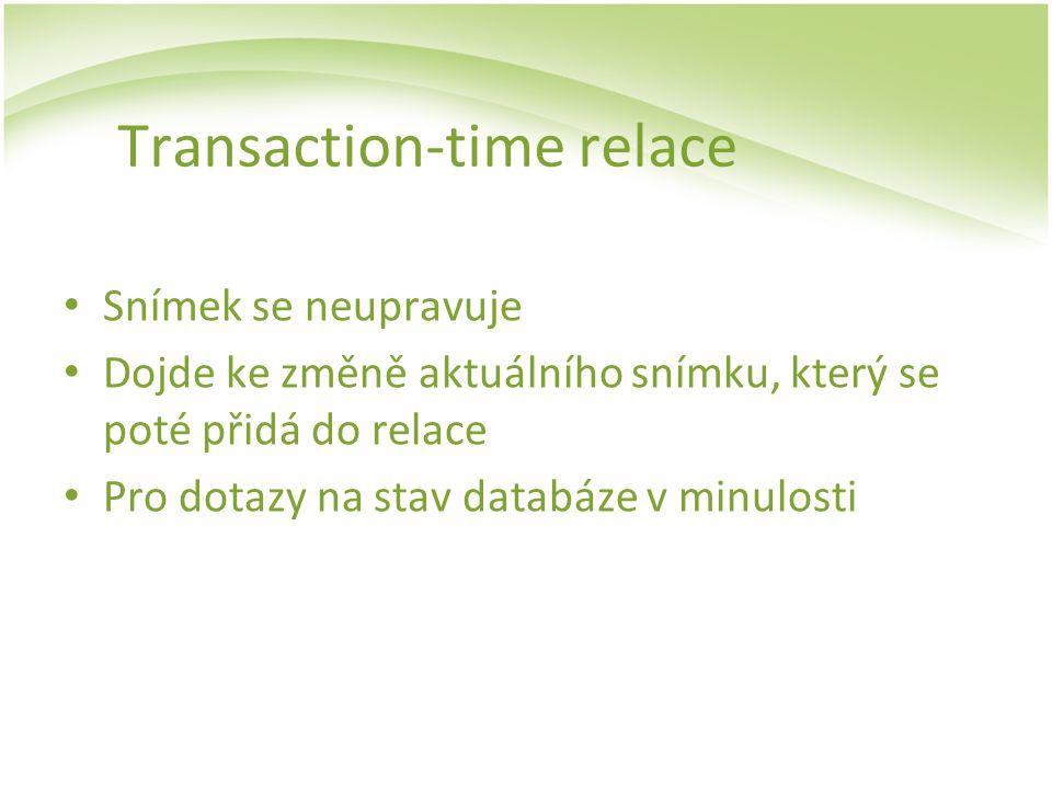 Transaction-time relace Snímek se neupravuje Dojde ke změně aktuálního snímku, který se poté přidá do relace Pro dotazy na stav databáze v minulosti