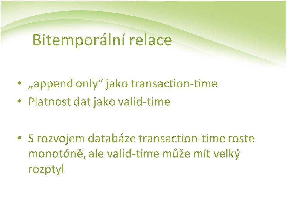 """Bitemporální relace """"append only"""" jako transaction-time Platnost dat jako valid-time S rozvojem databáze transaction-time roste monotóně, ale valid-ti"""