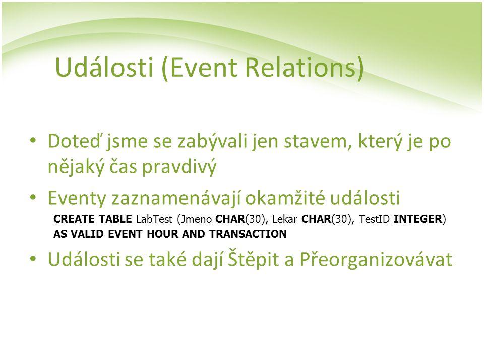 Události (Event Relations) Doteď jsme se zabývali jen stavem, který je po nějaký čas pravdivý Eventy zaznamenávají okamžité události CREATE TABLE LabT