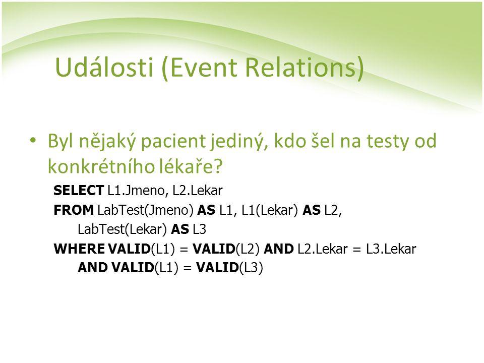 Události (Event Relations) Byl nějaký pacient jediný, kdo šel na testy od konkrétního lékaře? SELECT L1.Jmeno, L2.Lekar FROM LabTest(Jmeno) AS L1, L1(