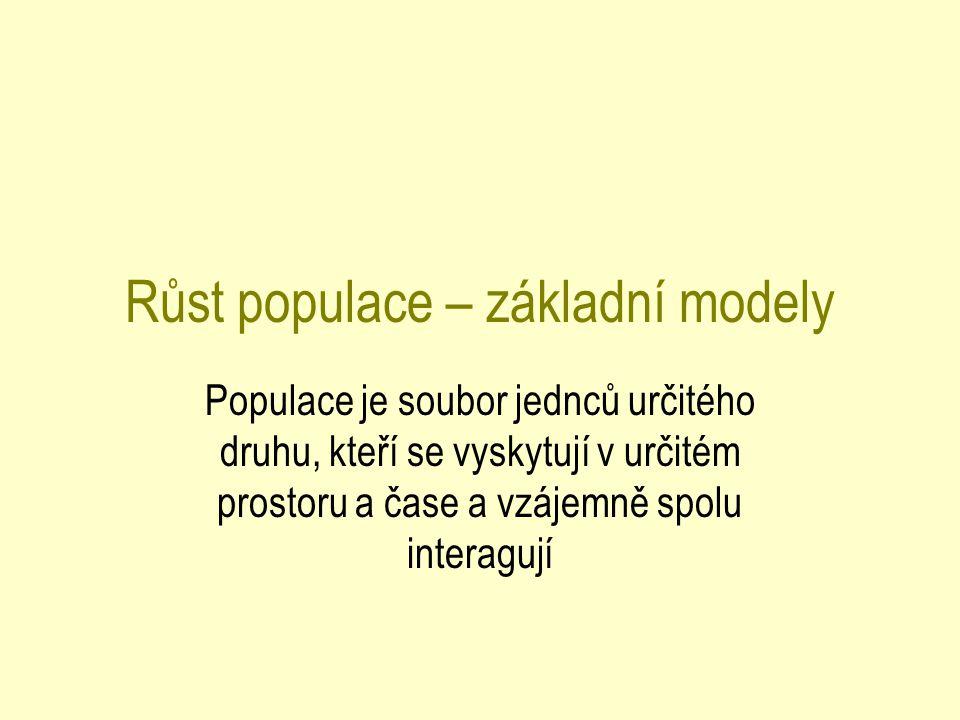 Růst populace – základní modely Populace je soubor jednců určitého druhu, kteří se vyskytují v určitém prostoru a čase a vzájemně spolu interagují