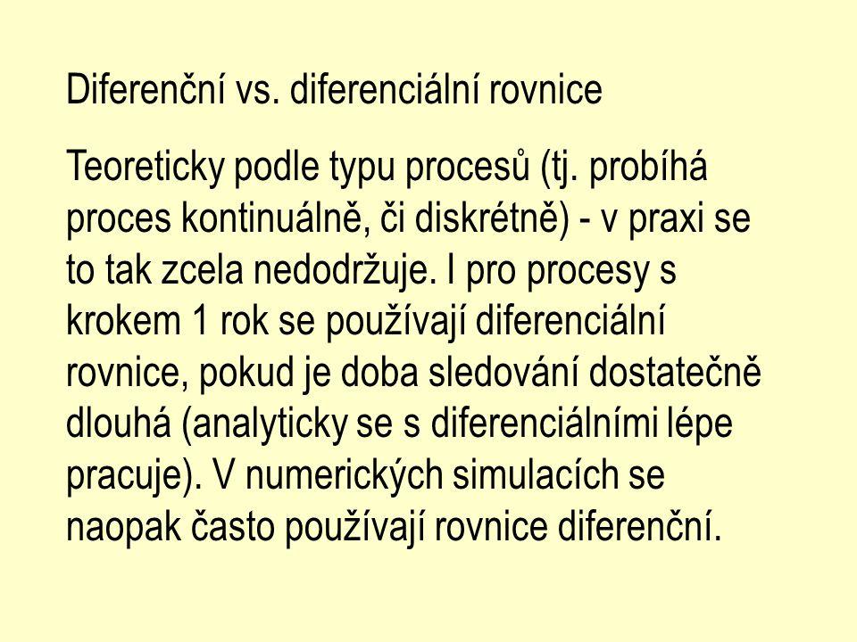 Diferenční vs. diferenciální rovnice Teoreticky podle typu procesů (tj. probíhá proces kontinuálně, či diskrétně) - v praxi se to tak zcela nedodržuje