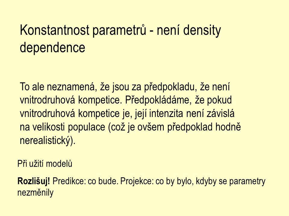 Konstantnost parametrů - není density dependence To ale neznamená, že jsou za předpokladu, že není vnitrodruhová kompetice. Předpokládáme, že pokud vn