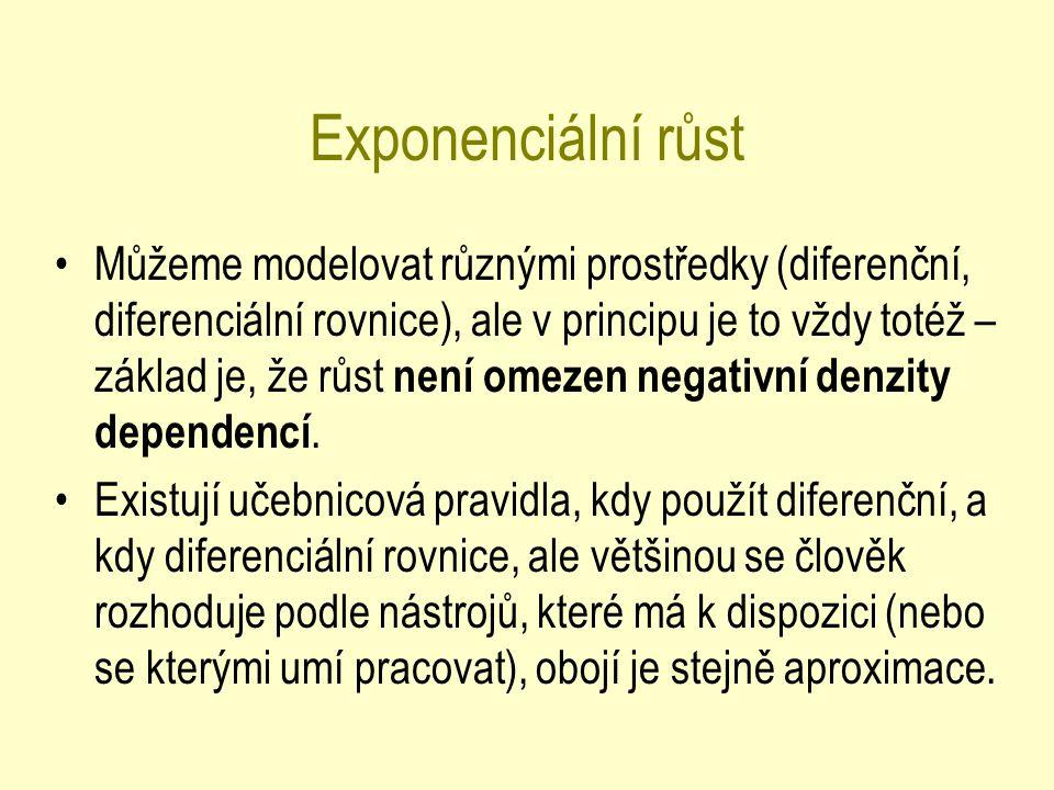 Exponenciální růst Můžeme modelovat různými prostředky (diferenční, diferenciální rovnice), ale v principu je to vždy totéž – základ je, že růst není omezen negativní denzity dependencí.