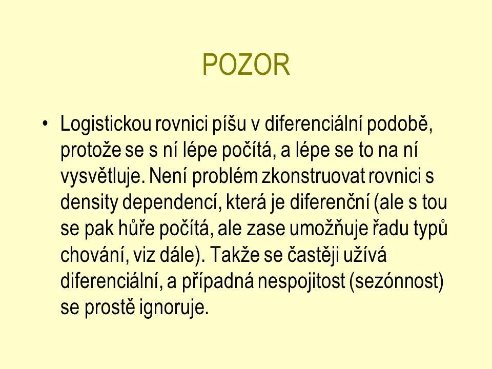 POZOR Logistickou rovnici píšu v diferenciální podobě, protože se s ní lépe počítá, a lépe se to na ní vysvětluje.