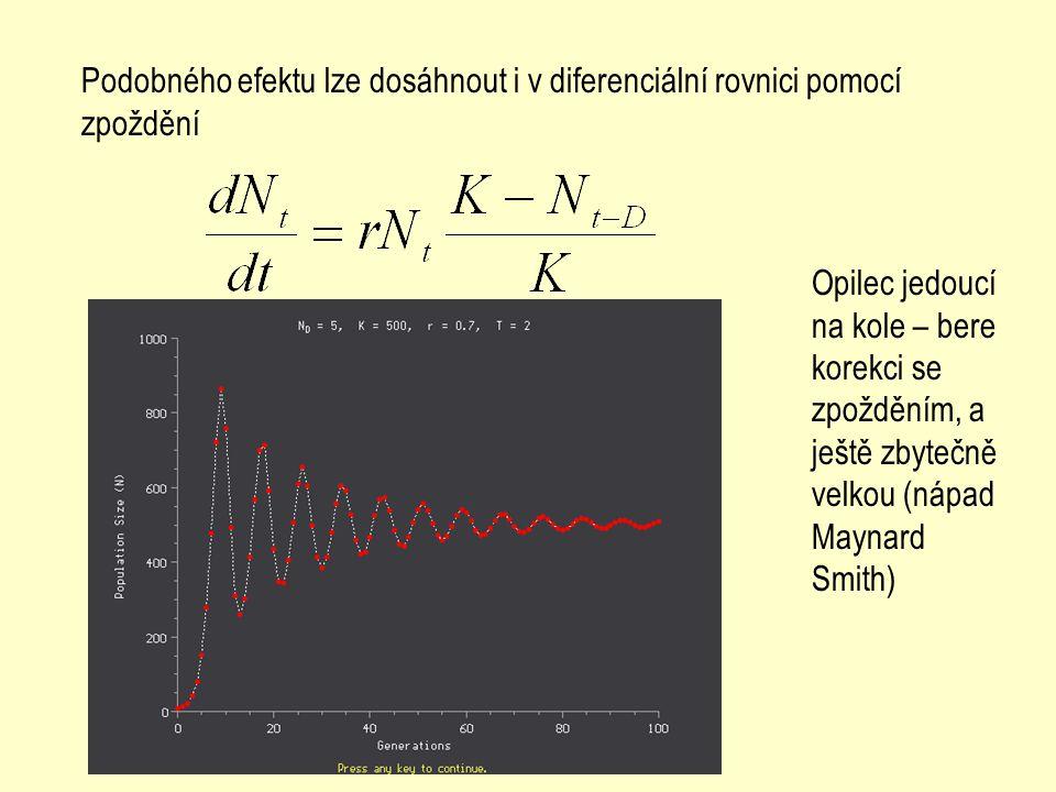Podobného efektu lze dosáhnout i v diferenciální rovnici pomocí zpoždění Opilec jedoucí na kole – bere korekci se zpožděním, a ještě zbytečně velkou (nápad Maynard Smith)