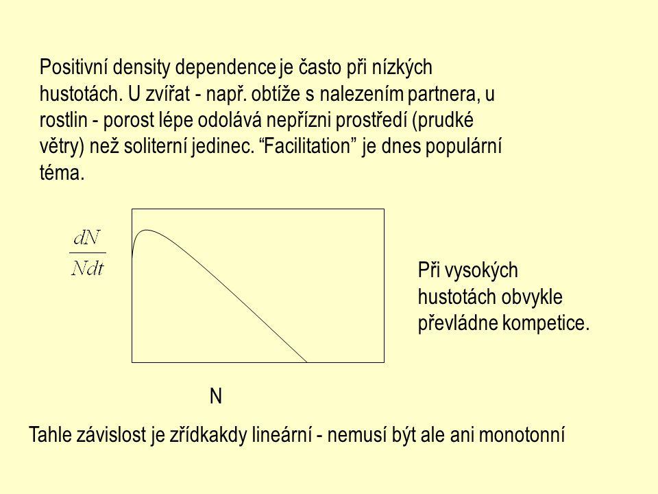 N Positivní density dependence je často při nízkých hustotách. U zvířat - např. obtíže s nalezením partnera, u rostlin - porost lépe odolává nepřízni