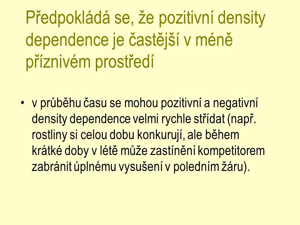 Předpokládá se, že pozitivní density dependence je častější v méně příznivém prostředí v průběhu času se mohou pozitivní a negativní density dependenc
