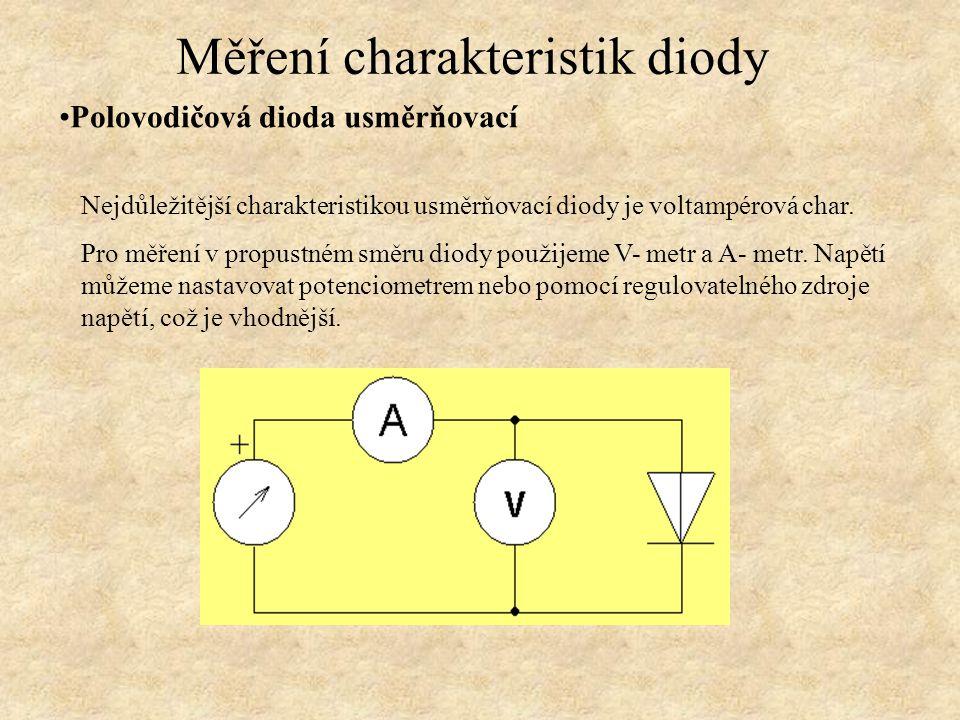 Polovodičová dioda usměrňovací Měření charakteristik diody Nejdůležitější charakteristikou usměrňovací diody je voltampérová char. Pro měření v propus