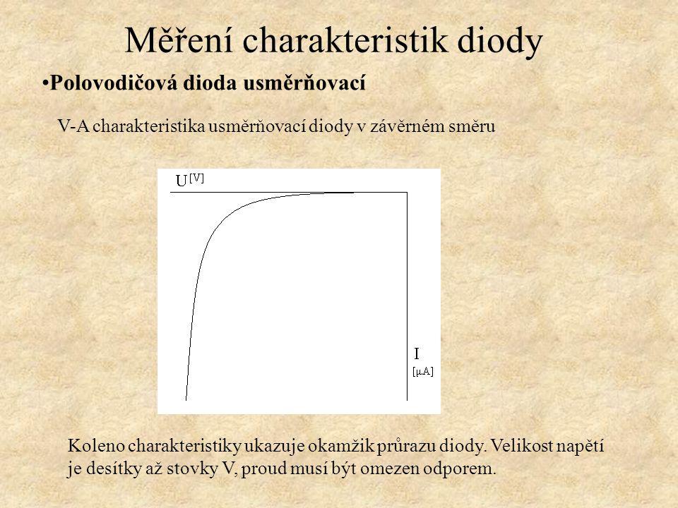 Polovodičová dioda usměrňovací Měření charakteristik diody V-A charakteristika usměrňovací diody v závěrném směru Koleno charakteristiky ukazuje okamž