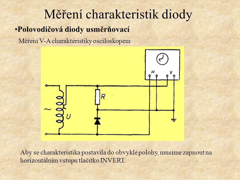Polovodičová diody usměrňovací Měření charakteristik diody Aby se charakteristika postavila do obvyklé polohy, musíme zapnout na horizontálním vstupu