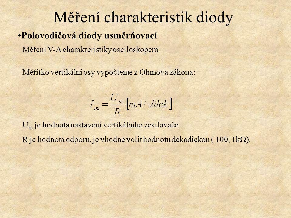Polovodičová diody usměrňovací Měření charakteristik diody Měřítko vertikální osy vypočteme z Ohmova zákona: Měření V-A charakteristiky osciloskopem.