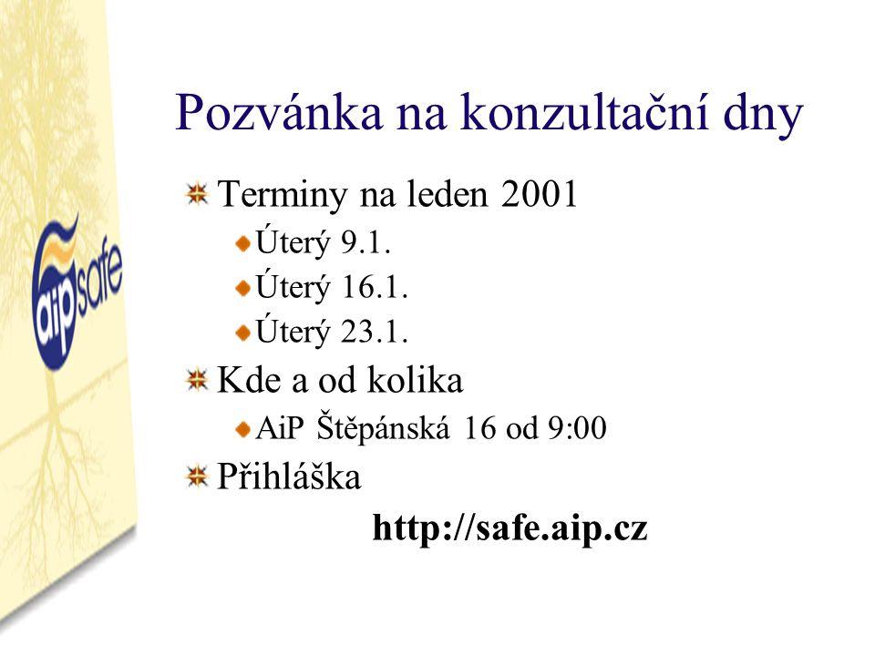 Pozvánka na konzultační dny Terminy na leden 2001 Úterý 9.1.