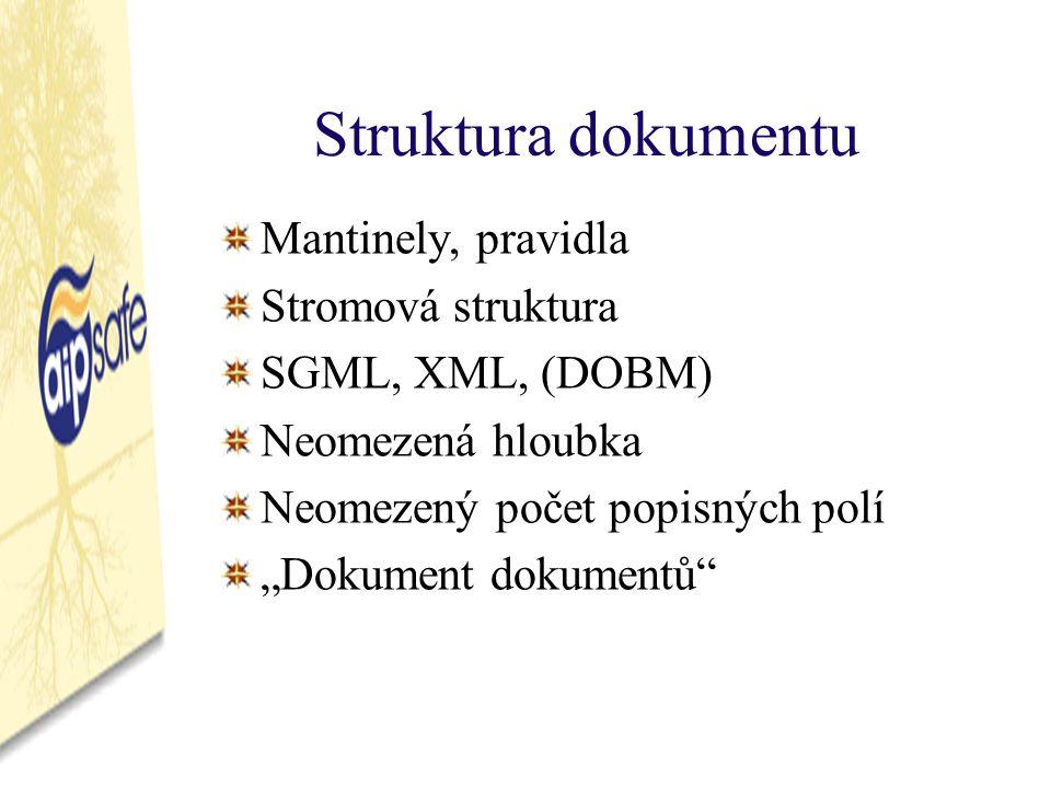 """Struktura dokumentu Mantinely, pravidla Stromová struktura SGML, XML, (DOBM) Neomezená hloubka Neomezený počet popisných polí """"Dokument dokumentů"""