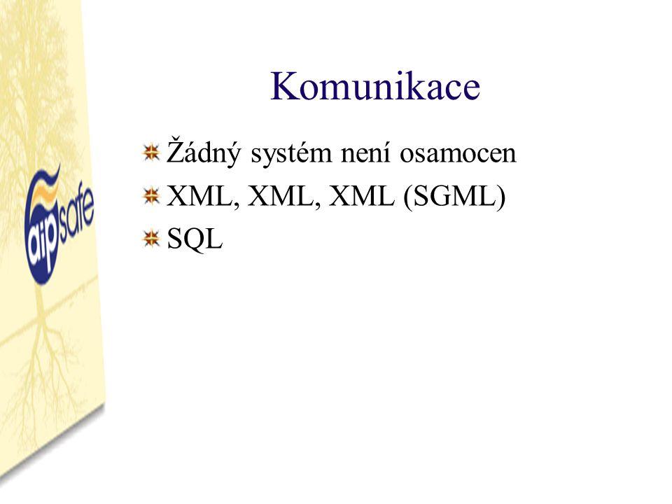 Komunikace Žádný systém není osamocen XML, XML, XML (SGML) SQL