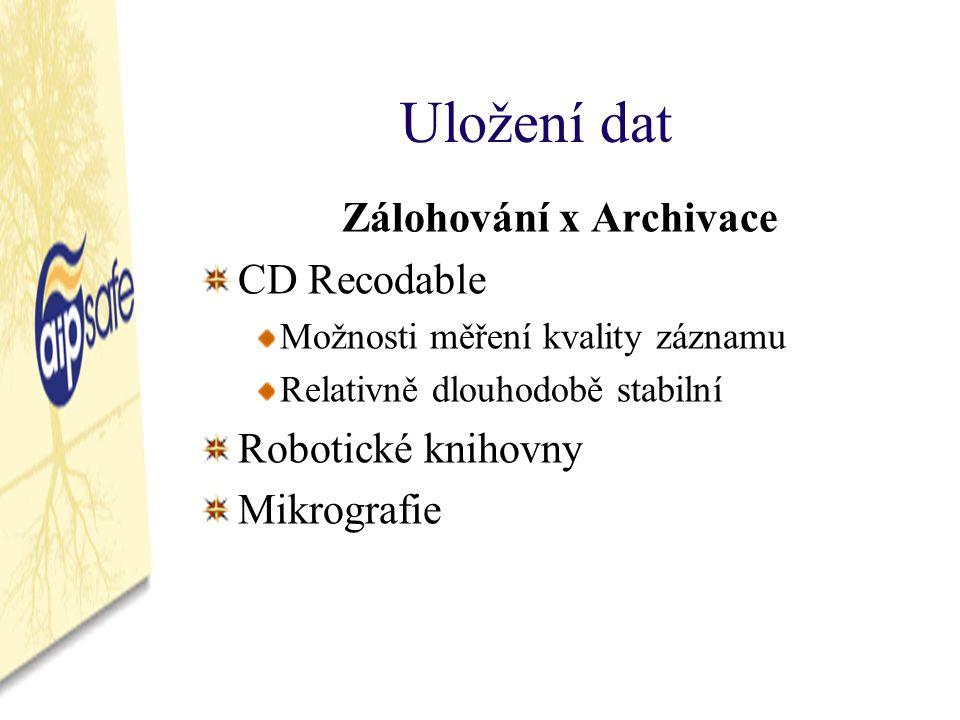 Uložení dat Zálohování x Archivace CD Recodable Možnosti měření kvality záznamu Relativně dlouhodobě stabilní Robotické knihovny Mikrografie