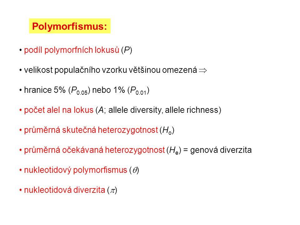 Polymorfismus: podíl polymorfních lokusů (P) velikost populačního vzorku většinou omezená  hranice 5% (P 0.05 ) nebo 1% (P 0.01 ) počet alel na lokus