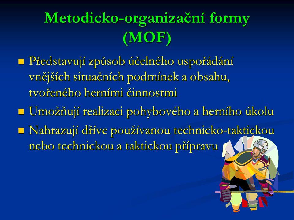 Metodicko-organizační formy (MOF) Představují způsob účelného uspořádání vnějších situačních podmínek a obsahu, tvořeného herními činnostmi Představuj