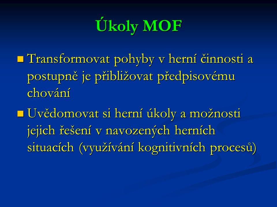 Úkoly MOF Transformovat pohyby v herní činnosti a postupně je přibližovat předpisovému chování Transformovat pohyby v herní činnosti a postupně je při