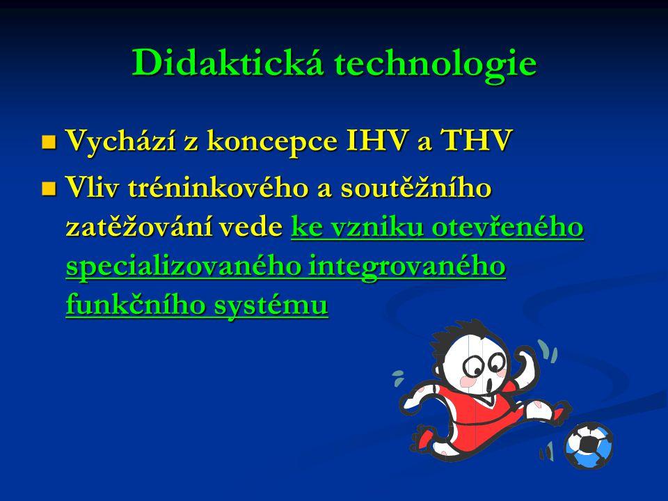 Didaktická technologie Vychází z koncepce IHV a THV Vychází z koncepce IHV a THV Vliv tréninkového a soutěžního zatěžování vede ke vzniku otevřeného s