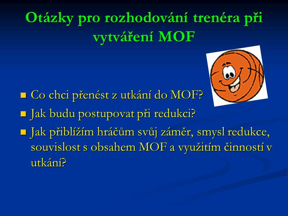 Otázky pro rozhodování trenéra při vytváření MOF Co chci přenést z utkání do MOF? Jak budu postupovat při redukci? Jak přiblížím hráčům svůj záměr, sm