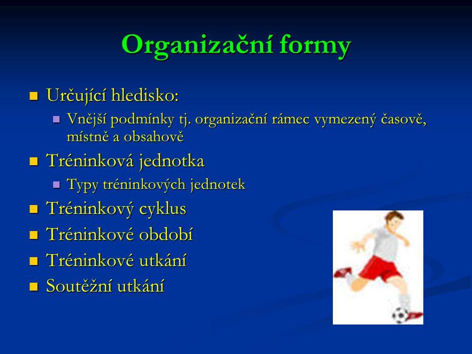 Organizační formy Určující hledisko: Určující hledisko: Vnější podmínky tj. organizační rámec vymezený časově, místně a obsahově Vnější podmínky tj. o