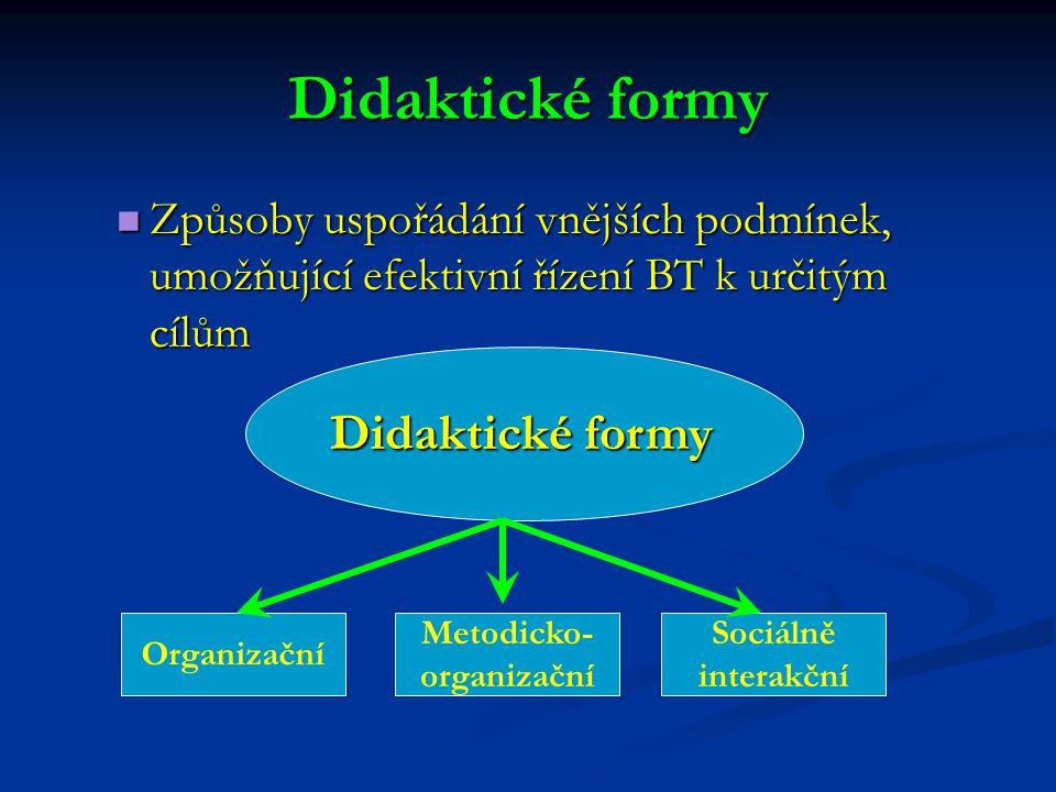 Didaktické formy Způsoby uspořádání vnějších podmínek, umožňující efektivní řízení BT k určitým cílům Způsoby uspořádání vnějších podmínek, umožňující